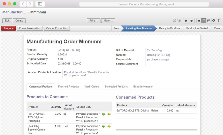 ERP Manufacturing Management System